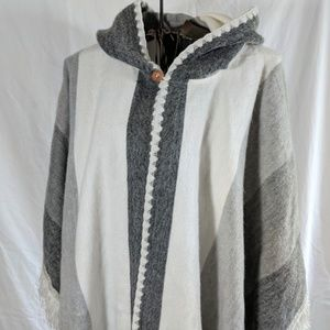 Gray and Cream Color-Block Poncho Hoodie
